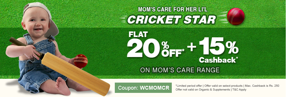 Flat 20% OFF* 15% Cashback* | Mom's Care for her little cricket star