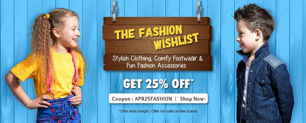 Extra 25% off on entire fashion range @ Firstcry – Fashion & Apparels