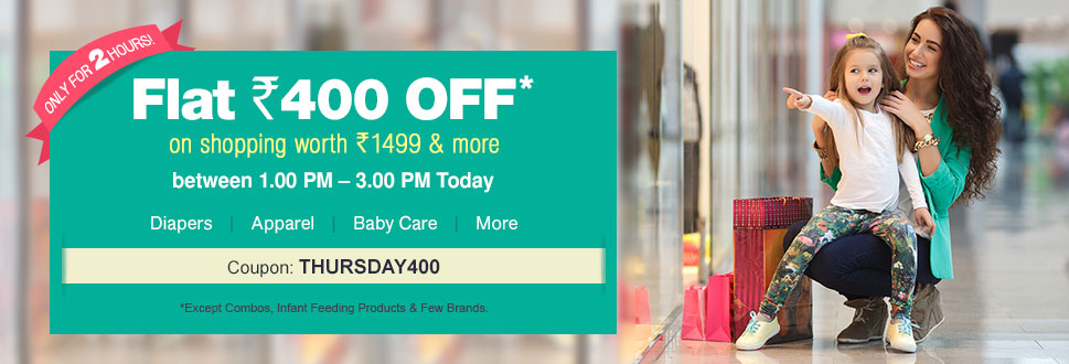 Flat Rs.400 off on Rs 1499 (Valid from 1 pm – 3 pm) — Firstcry — Rs. 1099.0 — Baby Care & Toys