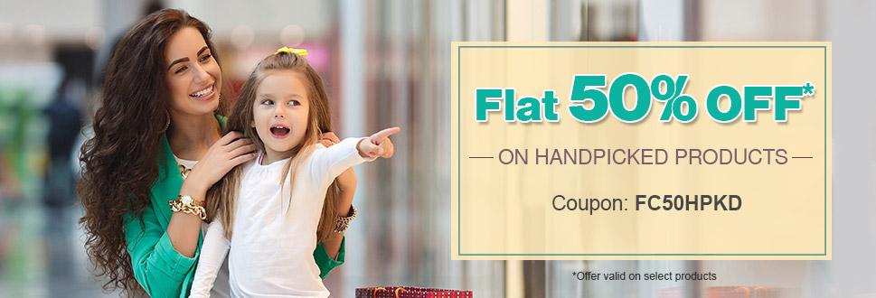 Flat 50% OFF on Handpicked Merchandise