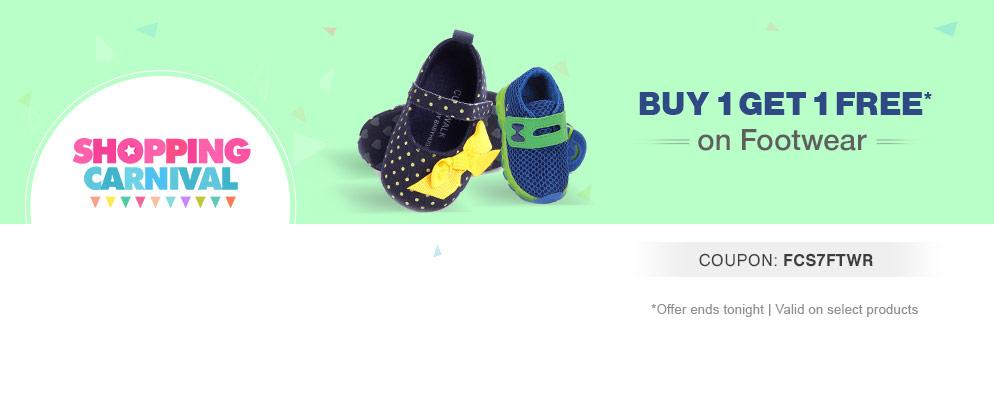 Firstcry: Shopping Carnival – Buy 1 Get 1 Free on Kids' Footwear