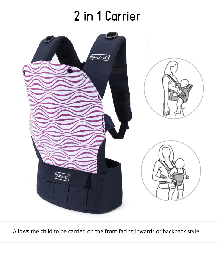 ab86c5d7f1 Babyhug On The Go 2 In 1 Baby Carrier With Removable Cotton Head Cover – Navy  Blue Pink (Hood Print May Vary)