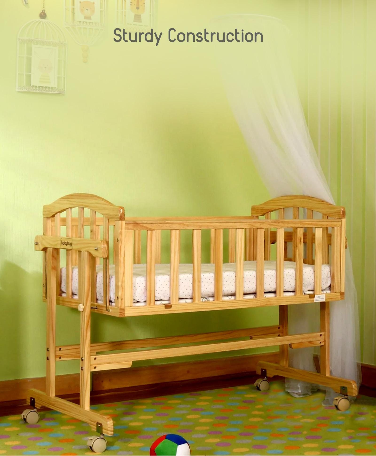 Babyhug Ionia Wooden Cradle With Mosquito Net Natural Finish Online In India Buy At Best Price From Firstcrycom 1694306