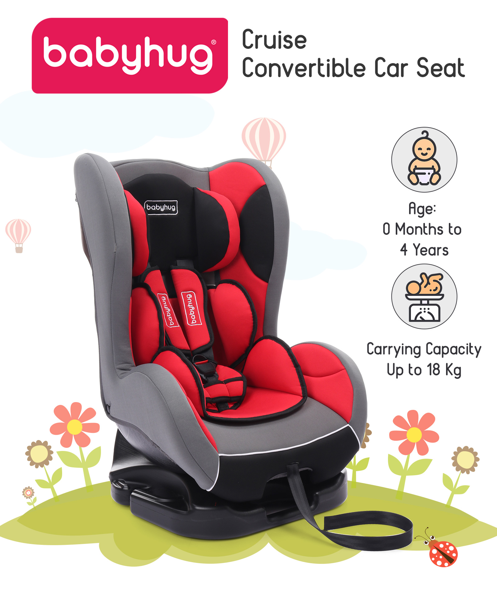 Babyhug Cruise Convertible Reclining Car Seat With Side Impact Protection Red Black Online In India Buy At Best Price From Firstcry Com 1773885