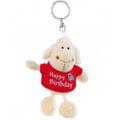 Nici Plush Key Chain- White Sheep with Happy Birthday Print