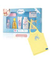 Johnson's baby Care Collection With Organic Cotton Baby T-Shirt - 7 Gift Items