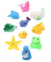 Babyhug Splash Buddies Bath Toys Set Of 10 - Multicolor