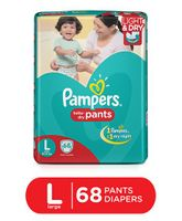 Pampers Pant Style Diapers Light And Dry Large - 68 Pieces