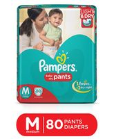 Pampers Pant Style Diapers Light And Dry Medium - 80 Pieces