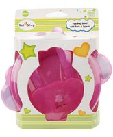 1st Step Feeding Bowl with Fork and Spoon - Pink