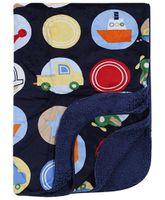Babyhug Baby Blanket Vehicle Print - Navy Blue