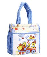 Duck Mother Bag Blue Chikan Print - Blue