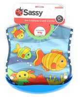 Sassy Crumb Catcher Waterproof Feeding Bib With Removable Tray - Fish Print