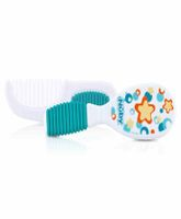 Nuby Comb And Brush Set Star Print - White And Blue