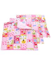 Babyhug Multi Purpose Baby Mat Apple Rabbit Print Set Of 4 - Pink