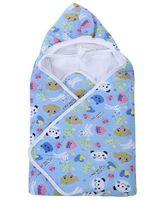 Babyhug Hooded Baby Wrapper Animal Print - Sky Blue