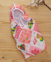 Babyhug Hooded Quilted Wrapper Happy Bear Print - Pink