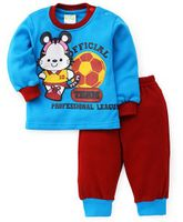 BabyHug Full Sleeves Tees & Pant Set With A Team League Print - Blue