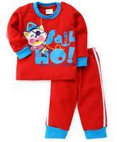 Babyhug Full Sleeves T-Shirt And Pant Kitty Print - Red