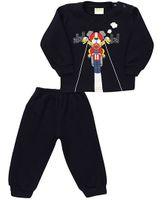 Babyhug Full Sleeves T-Shirt And Legging Set Graphic Print - Navy Blue