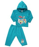 Cucumber Hooded T-Shirt And Pant Tom And Jerry Print - Light Blue