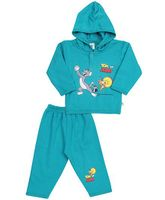 Cucumber Hooded T-Shirt And Leggings Tom And Jerry Print - Light Blue