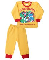 Babyhug Full Sleeves T-Shirt And Legging Set Caption Print - Yellow