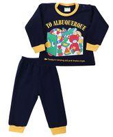 Babyhug Full Sleeves T-Shirt And Legging Set Caption Print - Navy
