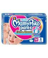 Mamy Poko Extra Absorb Pant Style Diapers Medium - 8 Pieces