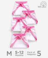 Babyhug U Shape Reusable Muslin Nappy Set Medium Pack Of 5 - Pink And White