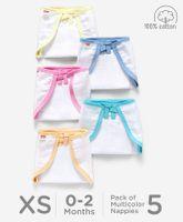 Babyhug U Shape Reusable Muslin Nappy Set Extra Small Pack Of 5 - Multicolor