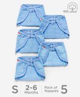 Babyhug U Shape Reusable Muslin Nappy Set Lace Small Pack Of 5 - Blue