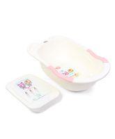 Babyhug Bathtub Cartoon Print - Cream And Pink