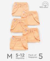 Babyhug U Shape Reusable Muslin Nappy Set Lace Medium Pack Of 5 - Peach