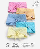 Babyhug Muslin Cotton Reusable Triangle Cloth Nappies Small Set Of 5 - Multicolor