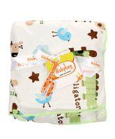 Babyhug Baby Blanket Alligator And Bee Print - White & Green