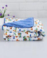 Babyhug Baby Blanket Multiprint Print - White & Blue