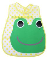 Babyhug Waterproof Plastic Crumb Catcher Bib Frog Print - Green and Yellow