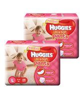 Huggies Ultra Soft Pants Large Size Premium Diapers For Girls 26 Pieces - Pack Of 2