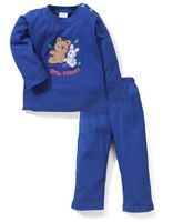 Babyhug Full Sleeves T-Shirt And Leggings Friends Embroidery - Royal Blue