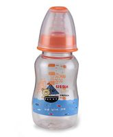 Mee Mee Plastic Premium Feeding Bottle Little Captain Print Orange - 150 ml