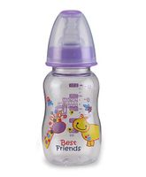 Mee Mee Plastic Premium Feeding Bottle Best Friends Print Purple - 150 ml