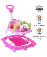 Babyhug Tiny Trotter Musical Baby Walker - Pink