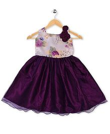 Winakki Kids Sleeveless Floral Printed Party Dress - Purple