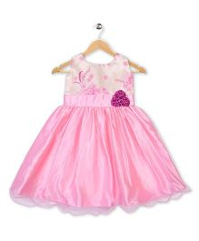 Winakki Kids Printed Girls Party Dress - Pink & Cream
