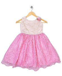 Winakki Kids Printed Party Dress With Flower - Pink
