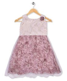 Winakki Kids Printed Party Dress - Light brown