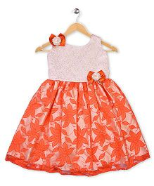 Winakki Kids Sleeveless Printed Party Dress - Orange