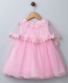 WhiteHenz Clothing Net Embellished Dress With Princess Cape - Pink