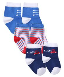 Mustang Ankle Length Socks Pair of 3 - Royal Blue Navy Red